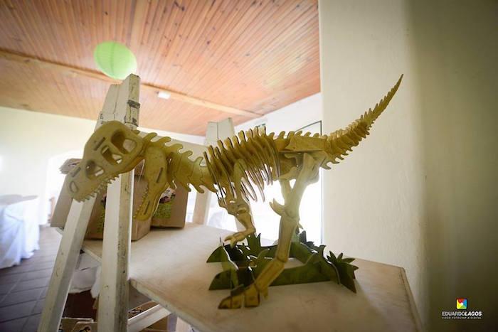 Wooden dinosaur skeleton from a Dinosaur Birthday Party on Kara's Party Ideas | KarasPartyIdeas.com (31)