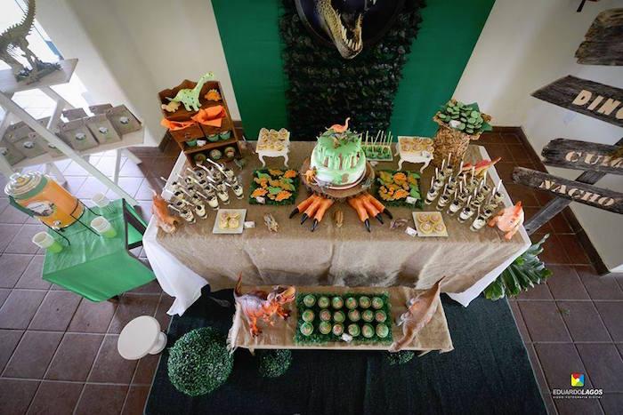 Overhead-view of a dinosaur dessert table from a Dinosaur Birthday Party on Kara's Party Ideas | KarasPartyIdeas.com (30)