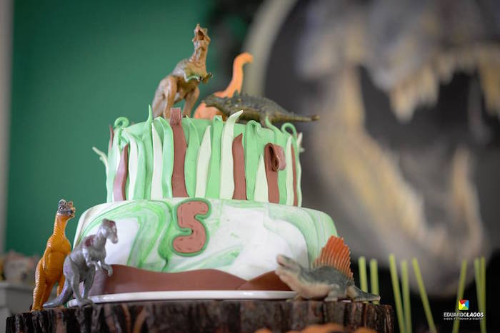 Dinosaur cake from a Dinosaur Birthday Party on Kara's Party Ideas | KarasPartyIdeas.com (28)