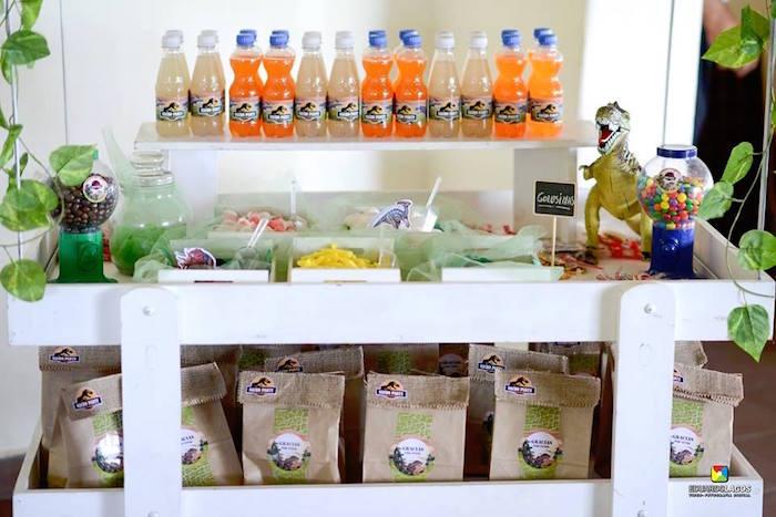 Candy buffet + favor cart from a Dinosaur Birthday Party on Kara's Party Ideas | KarasPartyIdeas.com (26)