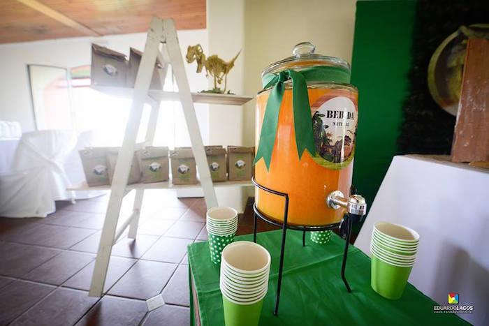 Drink table + favor bags from a Dinosaur Birthday Party on Kara's Party Ideas | KarasPartyIdeas.com (24)