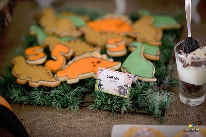 Dinosaur cookies from a Dinosaur Birthday Party on Kara's Party Ideas | KarasPartyIdeas.com (38)