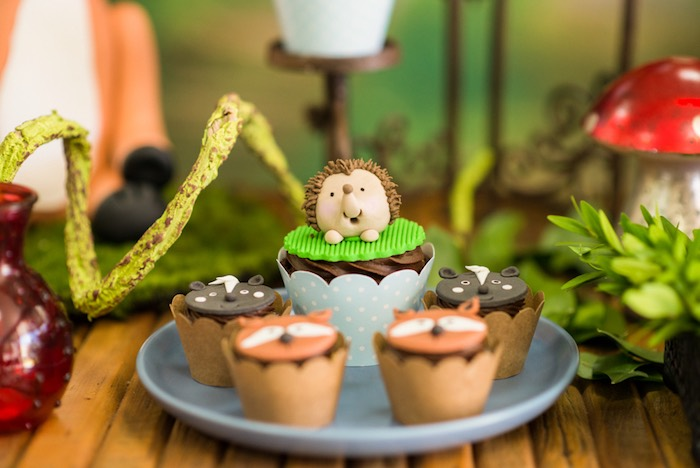 Hedgehog cupcakes from an Enchanted Forest Birthday Party on Kara's Party Ideas   KarasPartyIdeas.com (36)