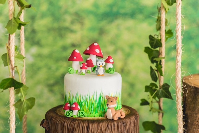 Cake detail from an Enchanted Forest Birthday Party on Kara's Party Ideas   KarasPartyIdeas.com (57)