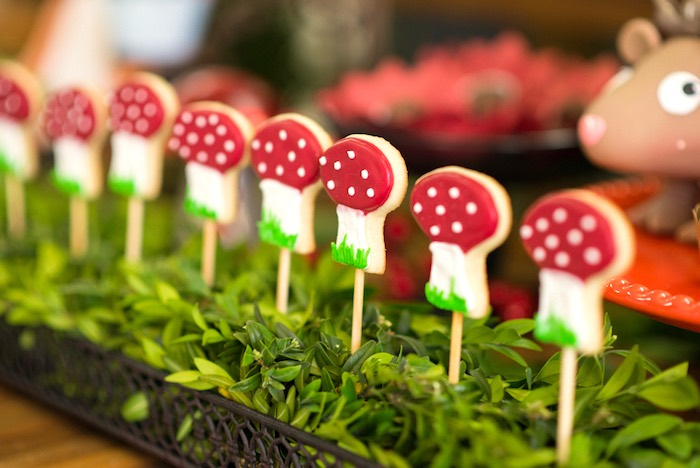 Toadstool cookie pops from an Enchanted Forest Birthday Party on Kara's Party Ideas   KarasPartyIdeas.com (29)