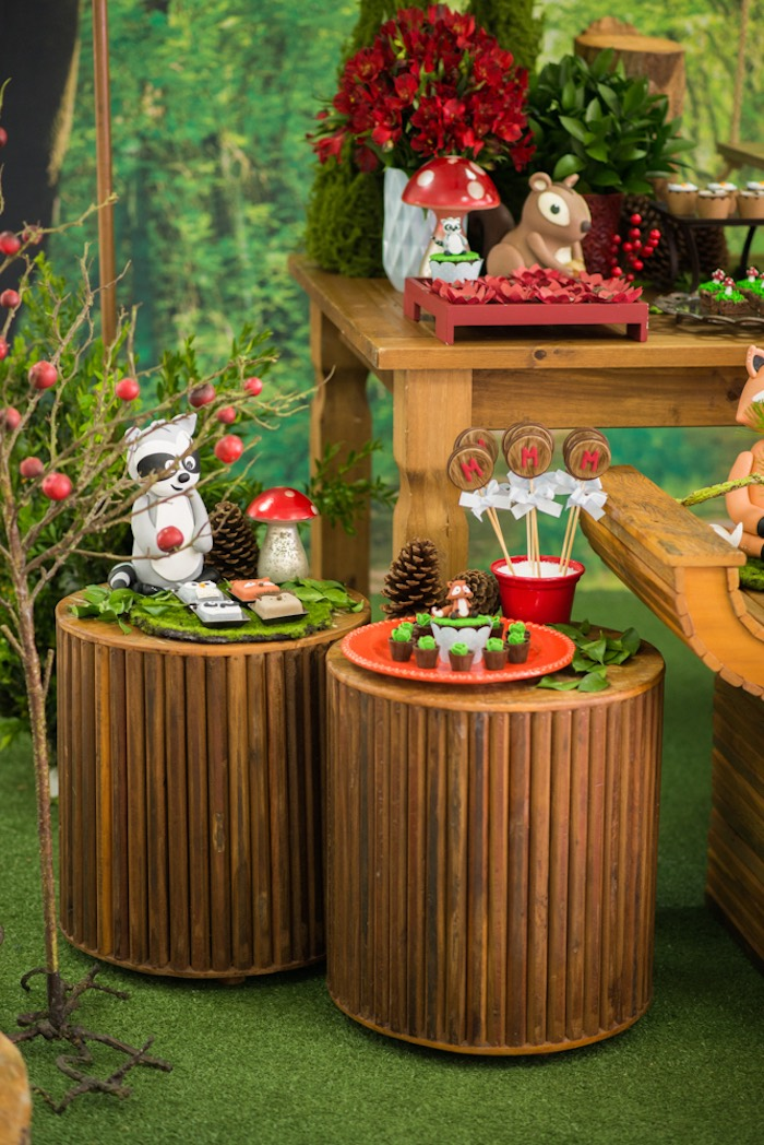 Faux stump tables from an Enchanted Forest Birthday Party on Kara's Party Ideas   KarasPartyIdeas.com (21)