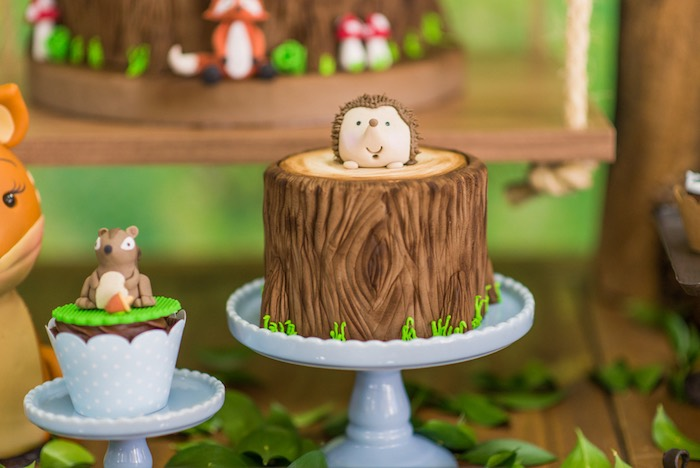 Hedgehog cake from an Enchanted Forest Birthday Party on Kara's Party Ideas   KarasPartyIdeas.com (54)