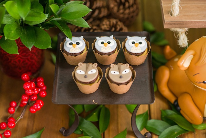 Owl and badger cupcakes from an Enchanted Forest Birthday Party on Kara's Party Ideas   KarasPartyIdeas.com (52)