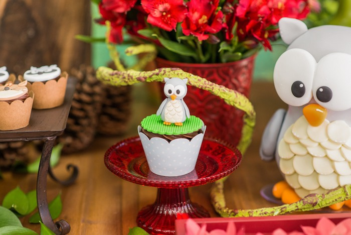 Owl cupcake from an Enchanted Forest Birthday Party on Kara's Party Ideas   KarasPartyIdeas.com (51)