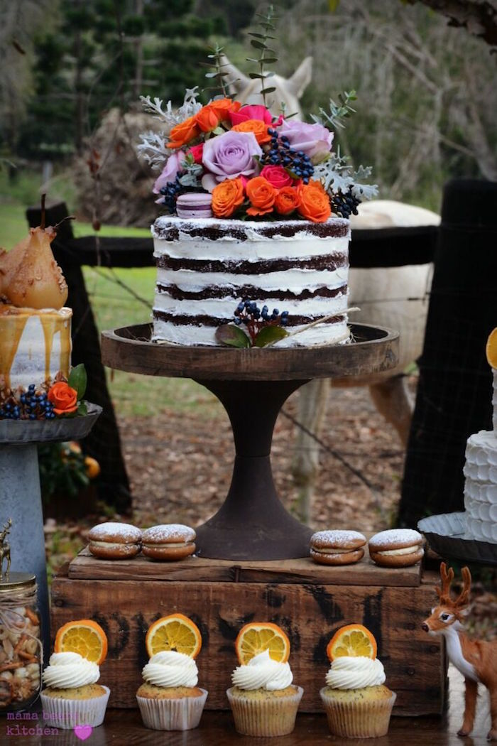 Flower-topped chocolate naked cake from a Fall Dessert Table on Kara's Party Ideas | KarasPartyIdeas.com (23)