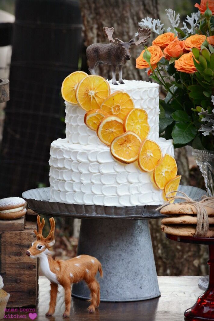 Petal cake adorned with orange slices from a Fall Dessert Table on Kara's Party Ideas | KarasPartyIdeas.com (20)
