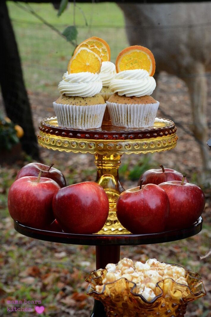 Poppyseed cupcakes and apples from a Fall Dessert Table on Kara's Party Ideas | KarasPartyIdeas.com (18)