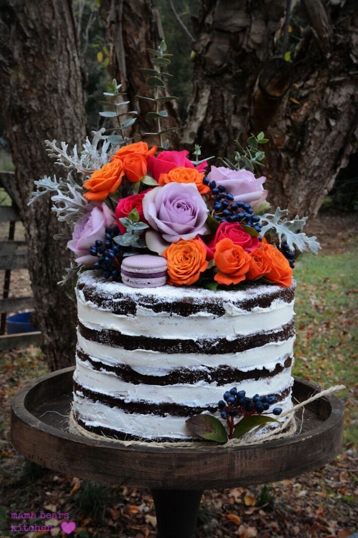 Chocolate bourbon naked cake from a Fall Dessert Table on Kara's Party Ideas | KarasPartyIdeas.com (16)