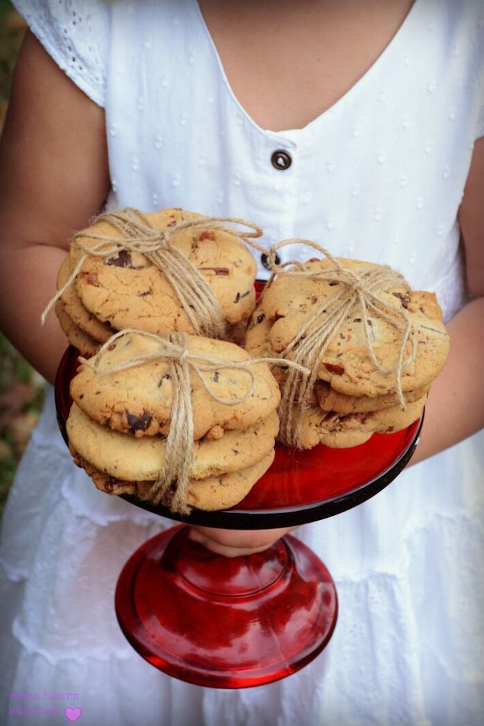 Chocolate chip cookie stacks from a Fall Dessert Table on Kara's Party Ideas | KarasPartyIdeas.com (12)