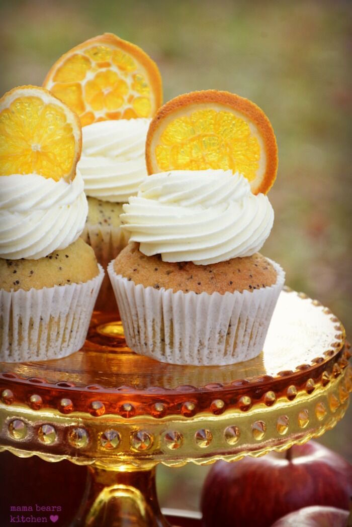 Poppy seed cupcakes topped with orange slices from a Fall Dessert Table on Kara's Party Ideas | KarasPartyIdeas.com (8)