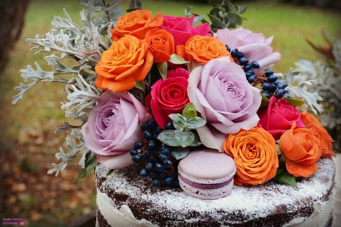 Flower cake top from a Fall Dessert Table on Kara's Party Ideas | KarasPartyIdeas.com (30)