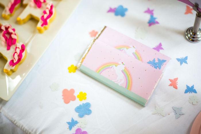 Unicorn candy bars from a Floral Rainbow Glam Unicorn Birthday Party on Kara's Party Ideas | KarasPartyIdeas.com (18)