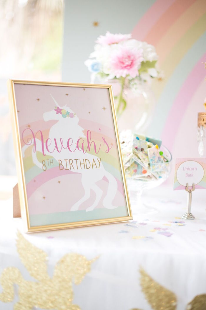 Unicorn party sign from a Floral Rainbow Glam Unicorn Birthday Party on Kara's Party Ideas | KarasPartyIdeas.com (12)