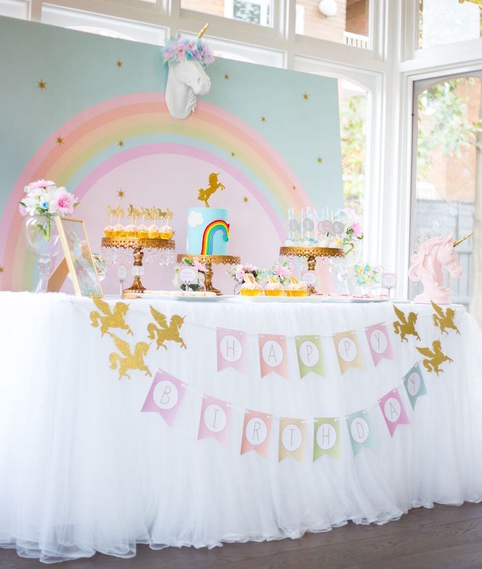 Unicorn dessert table from a Floral Rainbow Glam Unicorn Birthday Party on Kara's Party Ideas | KarasPartyIdeas.com (11)