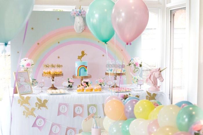 Dessert spread from a Floral Rainbow Glam Unicorn Birthday Party on Kara's Party Ideas | KarasPartyIdeas.com (10)