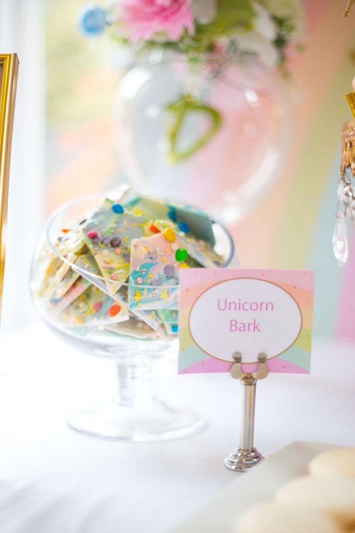 White chocolate unicorn bark from a Floral Rainbow Glam Unicorn Birthday Party on Kara's Party Ideas | KarasPartyIdeas.com (27)