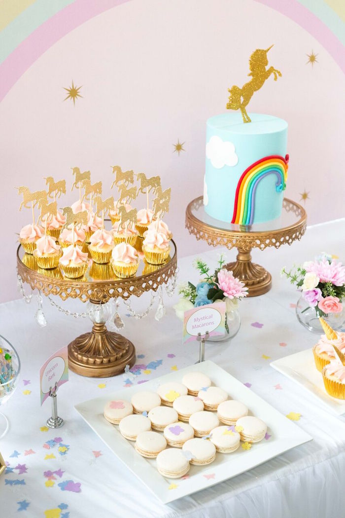 Karas Party Ideas Floral Rainbow Glam Unicorn Birthday Party