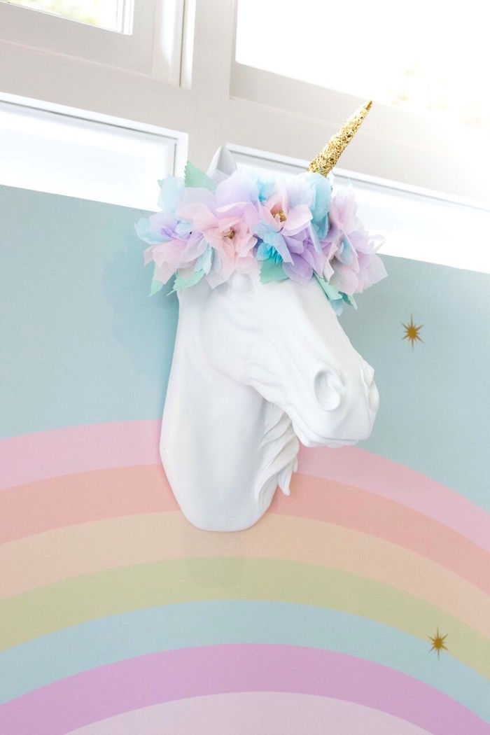 Inspirational Unicorn head wall mount from a Floral Rainbow Glam Unicorn Birthday Party on Kara us Party Ideas