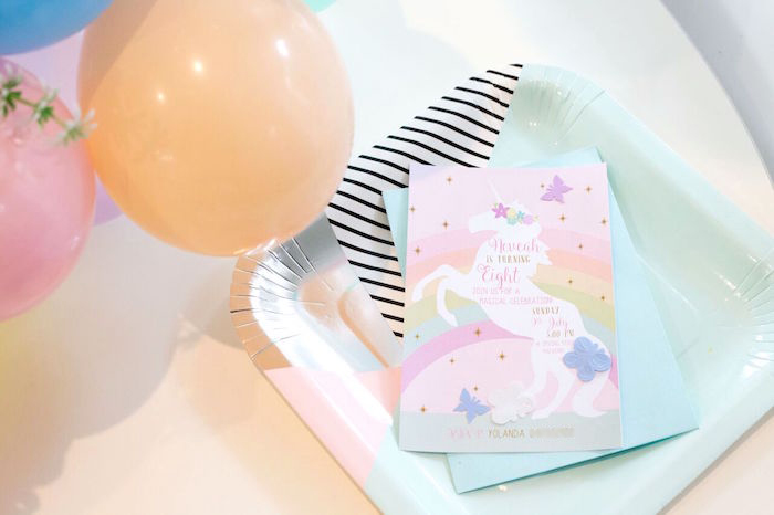 Unicorn party invitation from a Floral Rainbow Glam Unicorn Birthday Party on Kara's Party Ideas | KarasPartyIdeas.com (5)