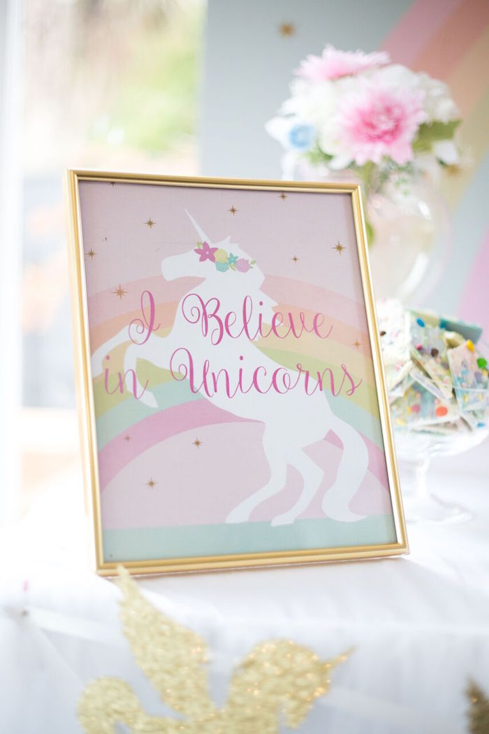 Unicorn party print from a Floral Rainbow Glam Unicorn Birthday Party on Kara's Party Ideas | KarasPartyIdeas.com (4)