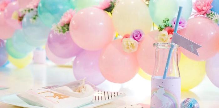 Floral Rainbow Glam Unicorn Birthday Party on Kara's Party Ideas | KarasPartyIdeas.com (2)