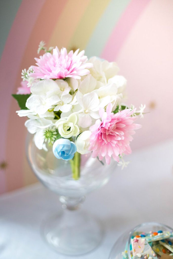 Fresh blooms from a Floral Rainbow Glam Unicorn Birthday Party on Kara's Party Ideas | KarasPartyIdeas.com (26)