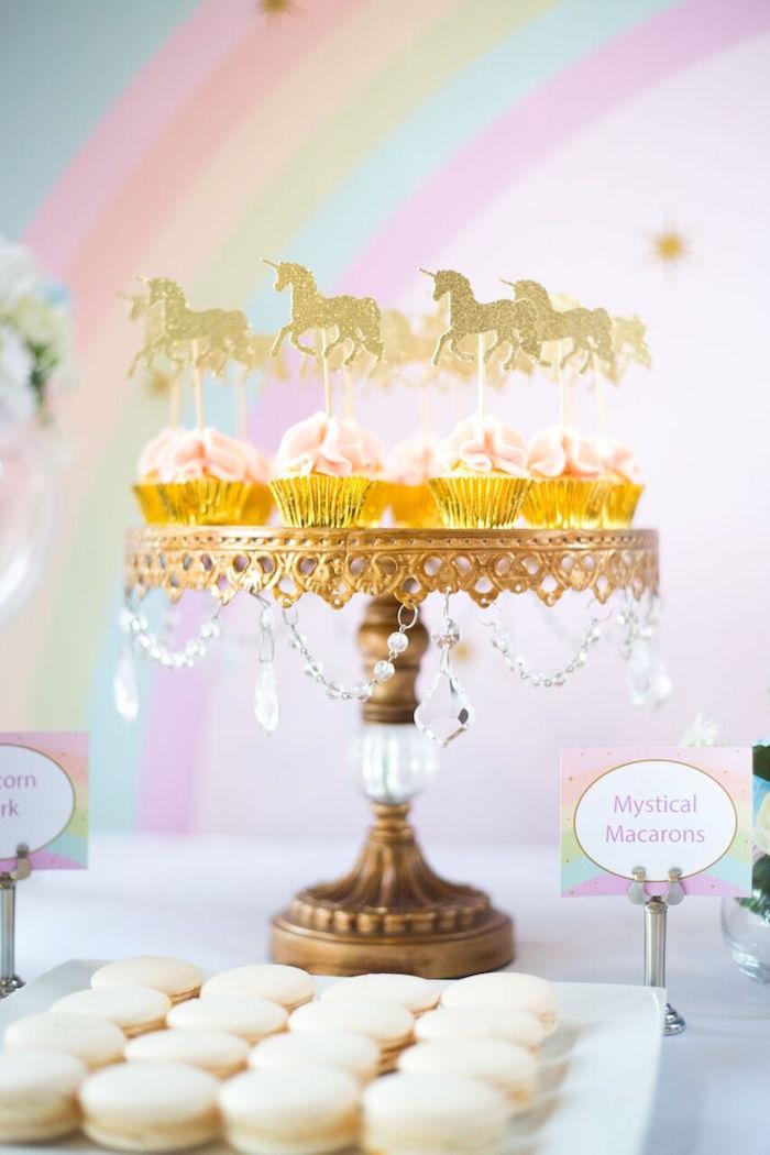 Mini unicorn cupcakes from a Floral Rainbow Glam Unicorn Birthday Party on Kara's Party Ideas | KarasPartyIdeas.com (25)