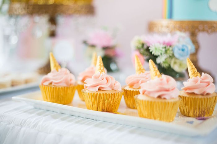 Unicorn cupcakes from a Floral Rainbow Glam Unicorn Birthday Party on Kara's Party Ideas | KarasPartyIdeas.com (23)