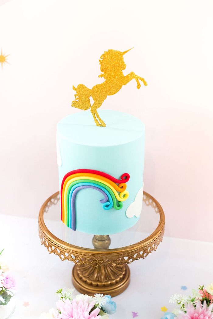 Rainbow unicorn cake from a Floral Rainbow Glam Unicorn Birthday Party on Kara's Party Ideas | KarasPartyIdeas.com (22)