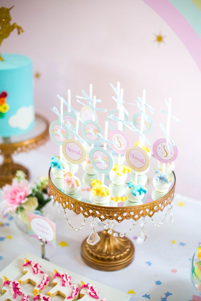 Unicorn cake pops from a Floral Rainbow Glam Unicorn Birthday Party on Kara's Party Ideas | KarasPartyIdeas.com (21)