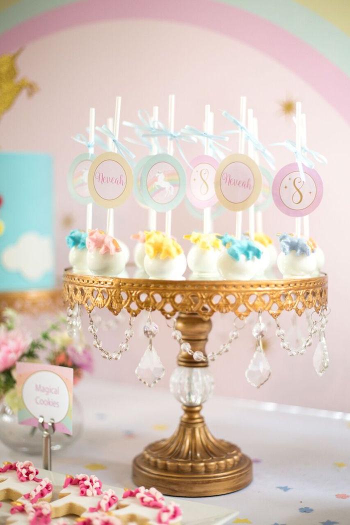 Unicorn cake pops from a Floral Rainbow Glam Unicorn Birthday Party on Kara's Party Ideas | KarasPartyIdeas.com (20)