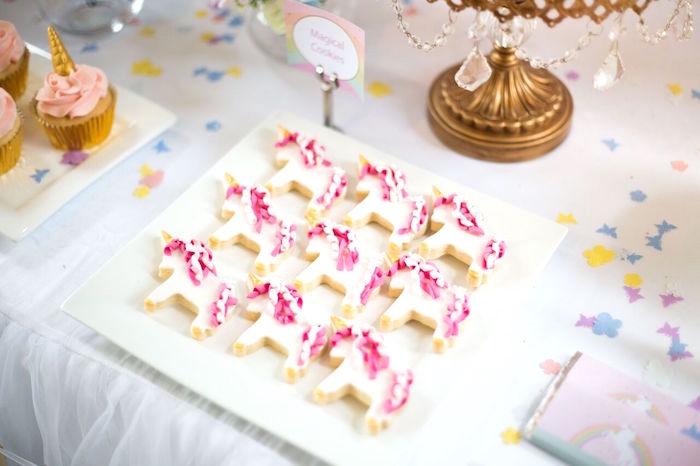 Adorable unicorn cookies from a Floral Rainbow Glam Unicorn Birthday Party on Kara's Party Ideas | KarasPartyIdeas.com (19)