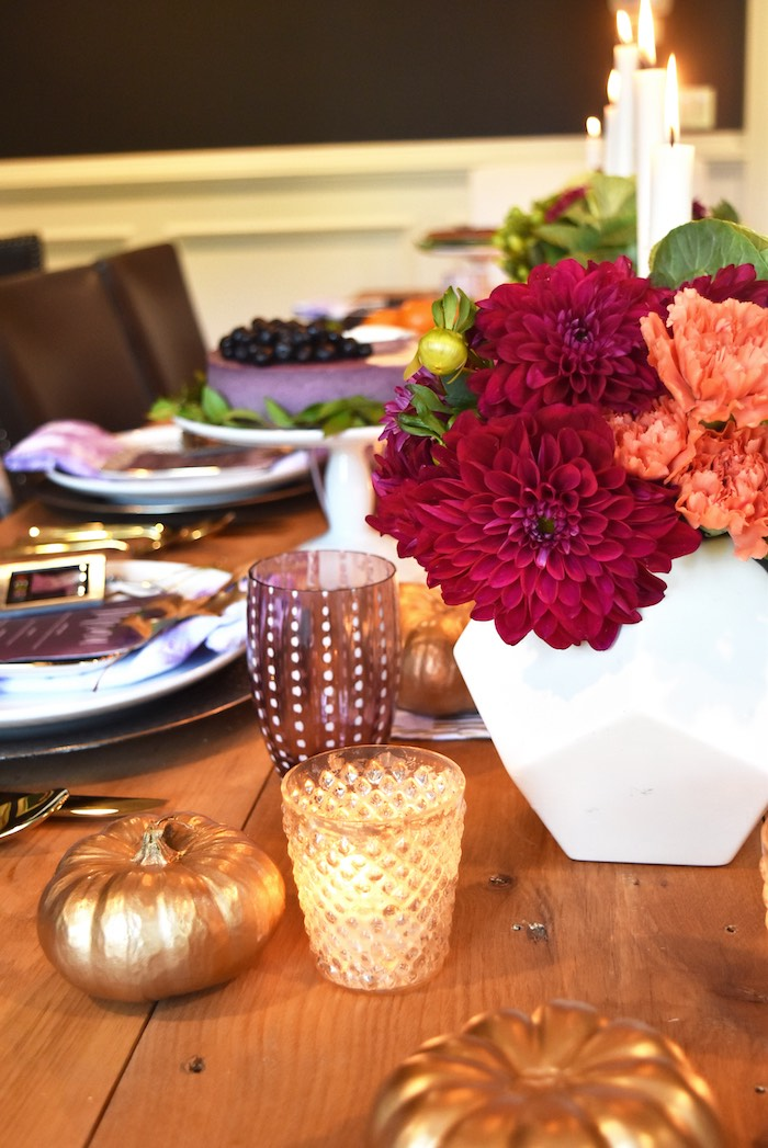 Floral arrangement & table decor from a Friendsgiving Dinner Party on Kara's Party Ideas | KarasPartyIdeas.com (30)