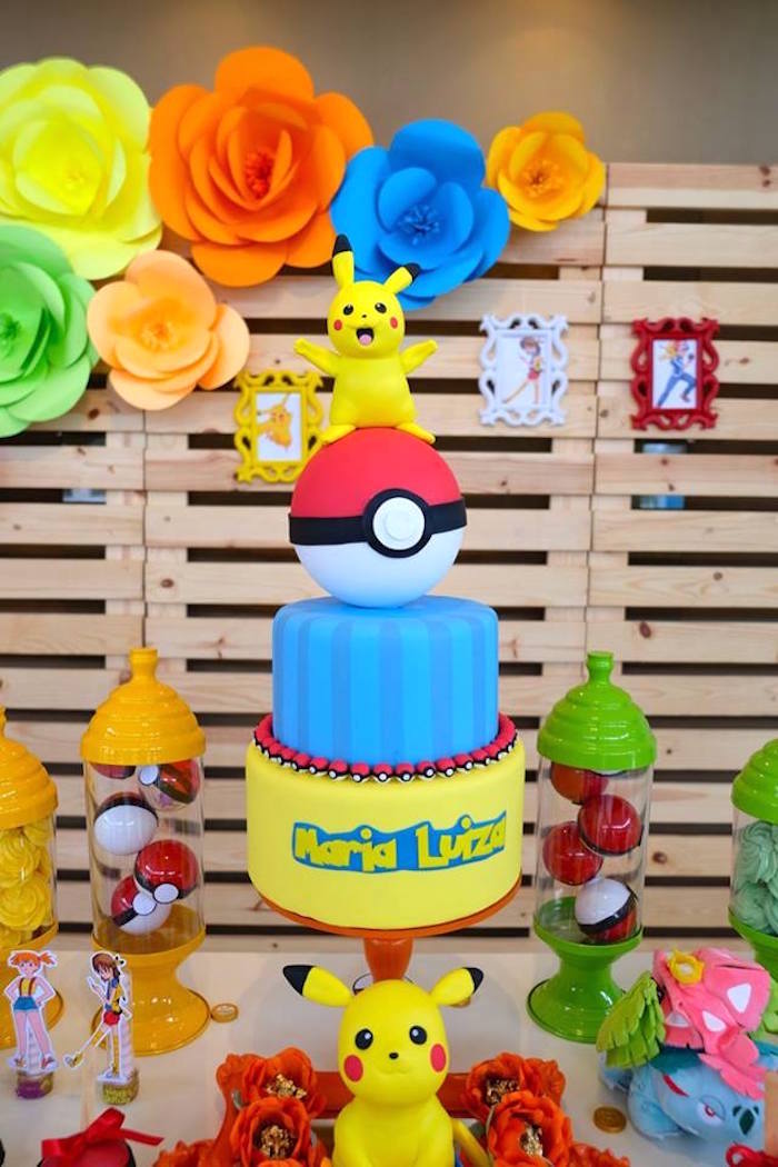 Pikachu Pokemon Cake at a Girly Pokemon Birthday Party via Kara's Party Ideas | KarasPartyIdeas.com (27)