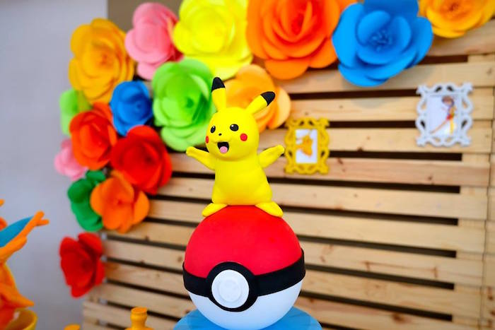 Pikachu Cake Topper at a Girly Pokemon Birthday Party via Kara's Party Ideas | KarasPartyIdeas.com (26)