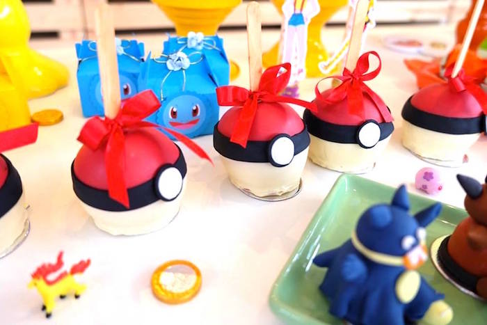 Pokeball Cake Balls + Gourmet Apples at a Girly Pokemon Birthday Party via Kara's Party Ideas | KarasPartyIdeas.com (16)