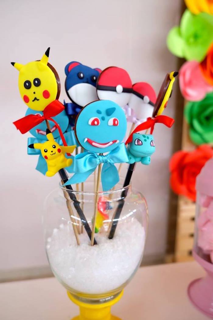 Chocolate Pokemon Lollipops at a Girly Pokemon Birthday Party via Kara's Party Ideas | KarasPartyIdeas.com (12)