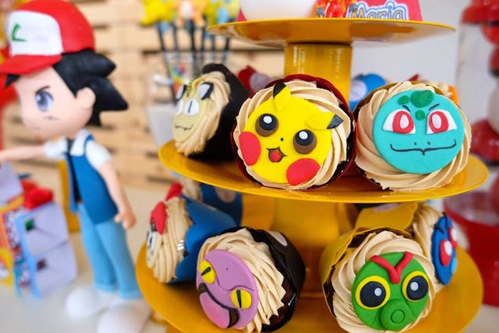 Pokemon Cupcakes at a Girly Pokemon Birthday Party via Kara's Party Ideas | KarasPartyIdeas.com (8)