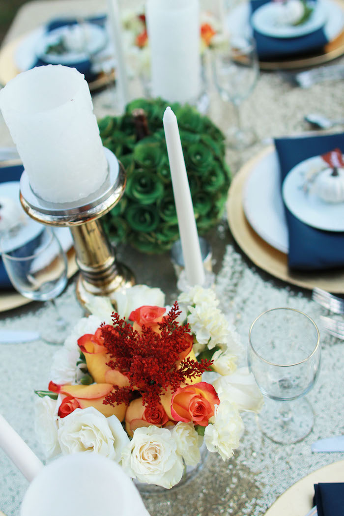 Nice Dinner Party Ideas For 20 Part - 11: Fall Blooms From A Glam Woodland Thanksgiving Dinner Party On Karau0027s Party  Ideas | KarasPartyIdeas.