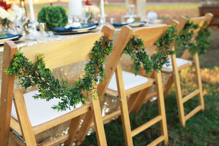 Dinner Party For 8 Ideas Part - 42: Chair Back Garlands From A Glam Woodland Thanksgiving Dinner Party On  Karau0027s Party Ideas | KarasPartyIdeas