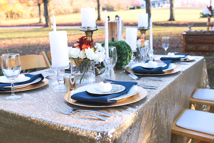 Kara 39 S Party Ideas Dining Tablescape From A Glam Woodland