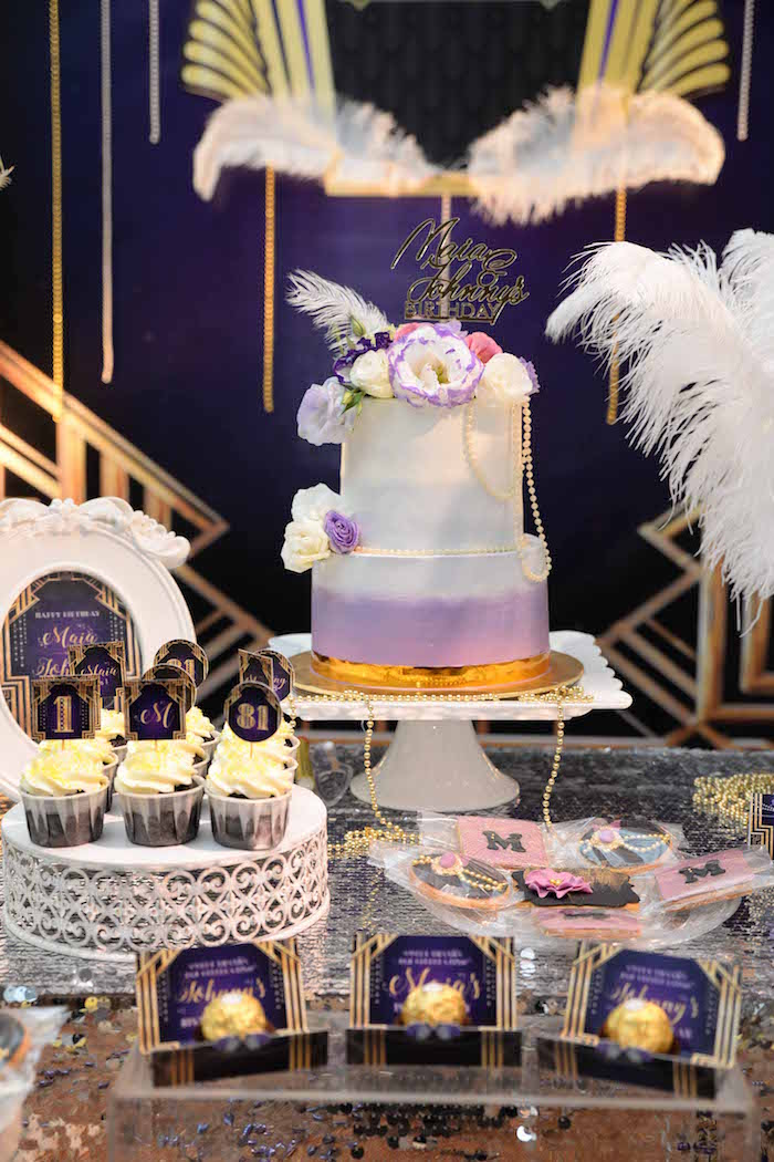 Girly Great Gatsby Cake from a Great Gatsby Old Hollywood Birthday Party on Kara's Party Ideas | KarasPartyIdeas.com (7)
