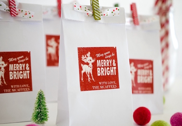 Rudolph gift bags from a Holiday Pajama Party on Kara's Party Ideas | KarasPartyIdeas.com (9)