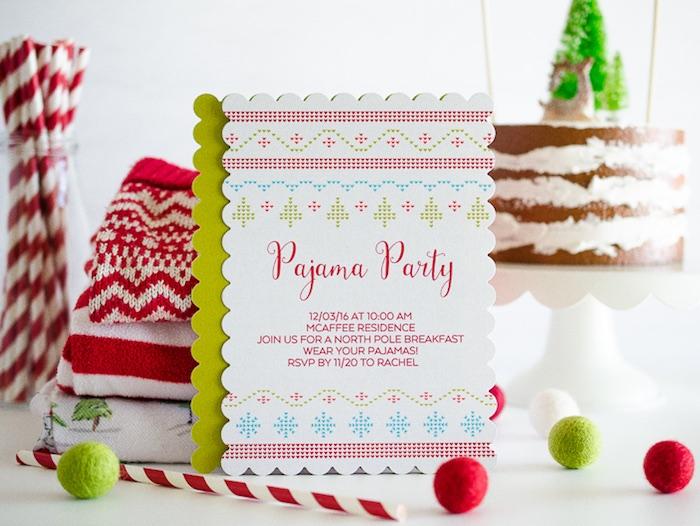 Cross Stitch party invitation from a Holiday Pajama Party on Kara's Party Ideas | KarasPartyIdeas.com (6)
