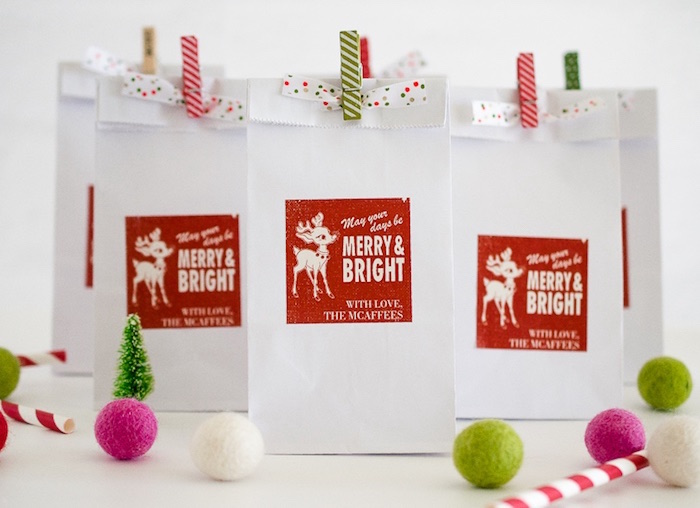 Holiday gift bags from a Holiday Pajama Party on Kara's Party Ideas | KarasPartyIdeas.com (4)